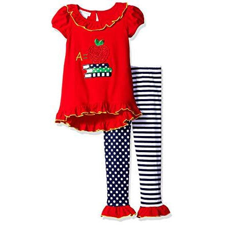 Bonnie Jean Girls BAck to School Apple Books Appliqued Legging Set 2T