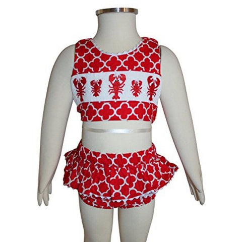 Image of Dana Kids Red Quatrefoil Lobster Smoked Swimsuit 6M, 4T 6 Years