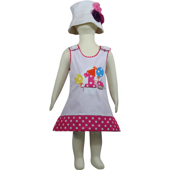Dana Kids Birthday #1 Cupcake Balloons Reversible Dress 12 Months