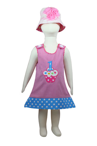 Image of Dana Kids Birthday Girl #1 Cupcake Balloons Reversible Dress 12 Months