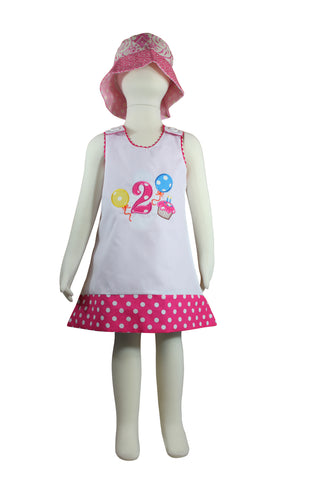 Image of Dana Kids Birthday Girl #2 Cupcake Balloons Reversible Dress 2T