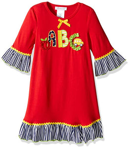 Bonnie Jean Little Girls Back to School ABC Applique Dress 2T-3T-4T