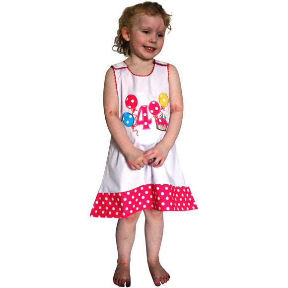 Dana Kids Birthday #4 Cupcake Balloons Reversible Dress 4T