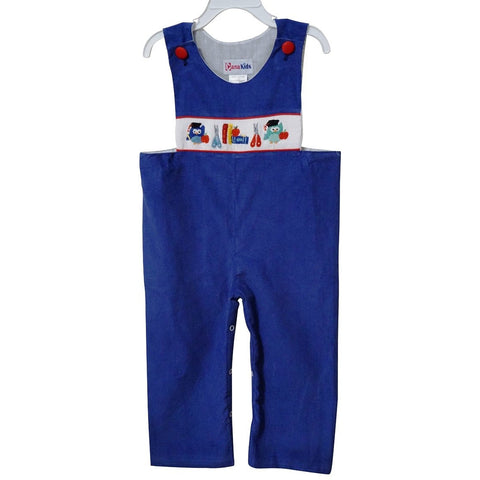 Dana Kids Little Boys Back to School Apple, Book,Owl, Scissors Hand Smocked Navy Corduroy Longall 2T-5T