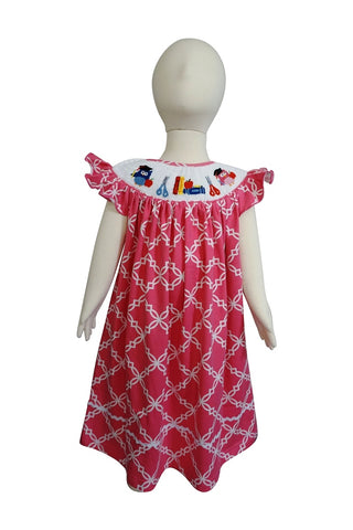 Dana Kids Girls Back to School Apple, Book,Owl, Scissors Hand Smocked Pink Fancy Quatrefoil Dress 3T-10Y