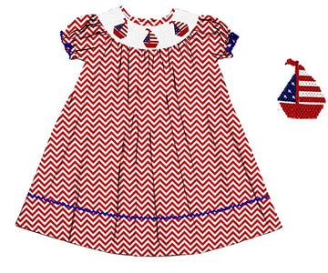 Dana Kids July Fourth Red Chevron Boats Smocked Dress Girls Size 18M-8 Years