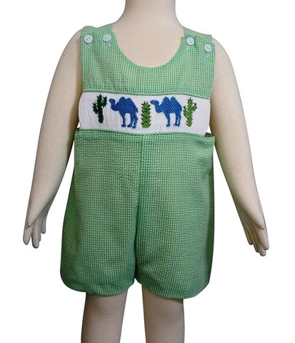 Dana Kids Little Boys Camel & Cactus Hand Smocked Shortall 6M to 3T