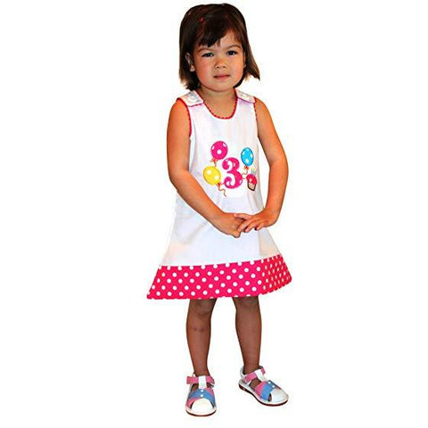 Image of Dana Kids Birthday Girl #3 Cupcake Balloons Reversible Dress 3T