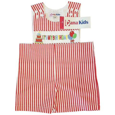Dana Kids Boys It's My Birthday Smocked Shortall Size 12M-4T
