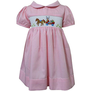 Dana Kids Easter Bunny Horse Wagon Hand Smocked Baby Toddler Girls Dress 12M-8 Years