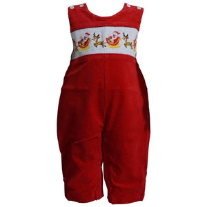 Dana Kids Little Boys Christmas Holiday Smocked Santa Reindeer Sleigh Red Corduroy Longall 6M to 5T
