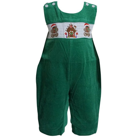 Dana Kids Little Boys Christmas Holiday Smocked Gingerbread Man Green Corduroy Longall 6M to 5T