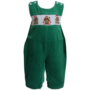 Dana Kids Little Boys Christmas Holiday Gingerbread Man Green Corduroy Longall 6M to 5T