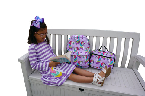 Image of Dana Kids Girls Back to School Unicorn Applique Purple Stripe Knit Dress 2T -10 Years