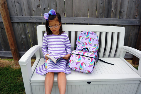 Image of Back To School Little Girls Matching Dress Lunch Box Backpack, Unicorn