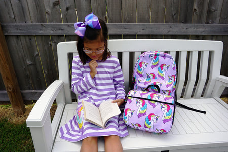 Back To School Little Girls Matching Dress Lunch Box Backpack, Unicorn