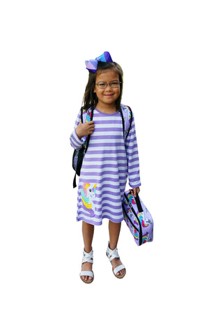 Dana Kids Girls Back to School Unicorn Applique Purple Stripe Knit Dress 2T -10 Years