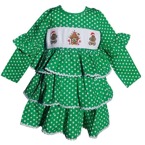 Image of Dana Kids Christmas Holiday Green Dot Gingerbread Man Workshop Smocked Girl Dress 2T-10 Years