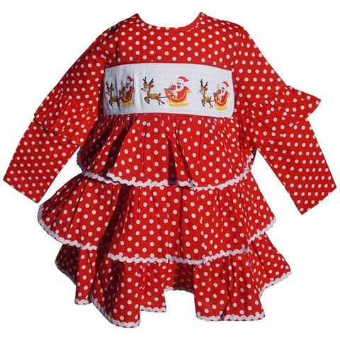 Image of Dana Kids Christmas Holiday Red Dot Santa Sled Smocked Girl Dress 2T-10 Years