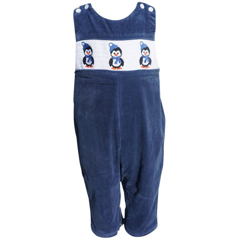 Dana Kids Little Boys Christmas Holiday Penguin Smocked Navy Corduroy Longall 12M-4T