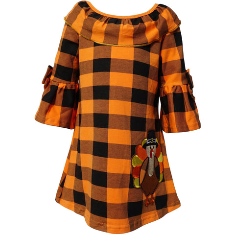 Dana Kids Thanksgiving Turkey Applique Girl Dress 2T-10 Years