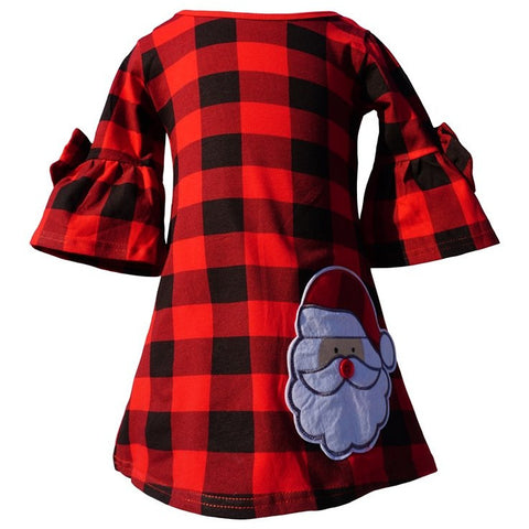 Image of Dana Kids Christmas Holidays Santa Applique Girl Dress 2T-10 Years