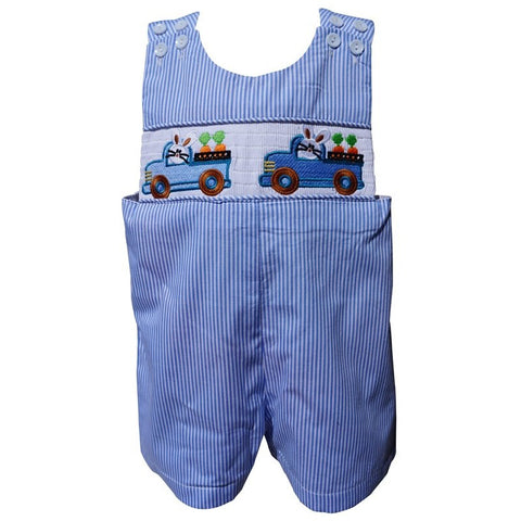 Dana Kids Boys Easter Bunny Truck Smocked Shortall Size 6M to 4T