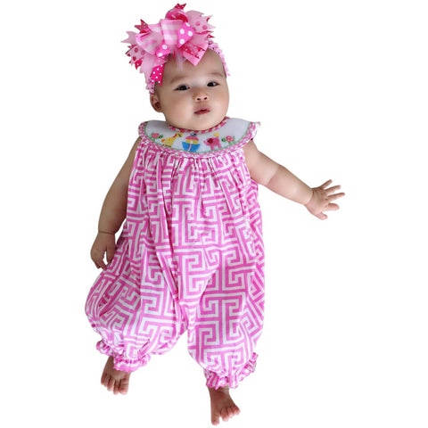 Image of Dana Kids Animals Hand Smocked Romper Baby Toddler Girls 6 Months to 4T