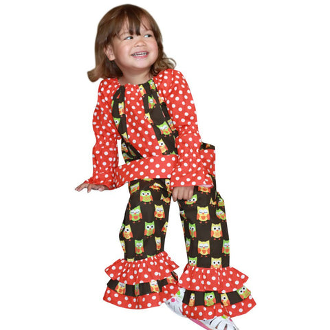 Image of Dana Kids Hallowen Owl Dot Peasant Top & Ruffle Pant Set Girls 12M-10 Years
