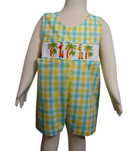Dana Kids Little Boys Giraffe Hand Smocked Shortall 6M to 4T