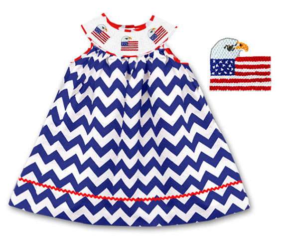 Dana Kids July Fourth American Flag Eagle Navy Chervon Bishop Hand Smocked Dress 8-10 Years