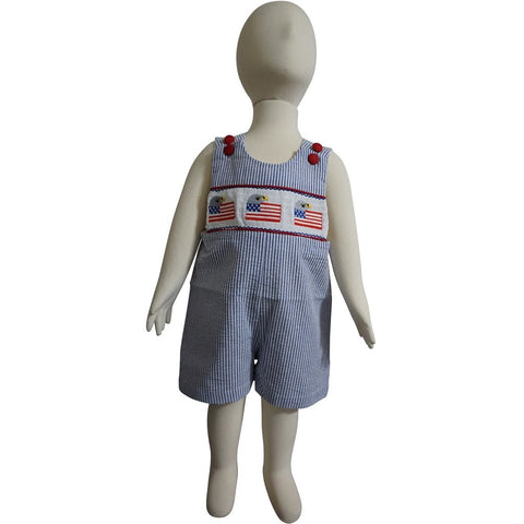 Dana Kids Little Boys July Fourth Patriotic Eagle Flags Smocked Shortall 6M to 4T