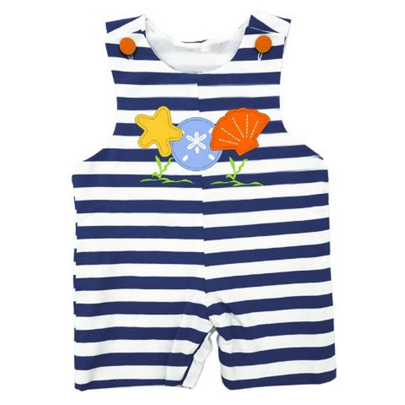 Dana Kids Sea Shell Applique Shortall Baby Toddler Boys 6 Months to 2T