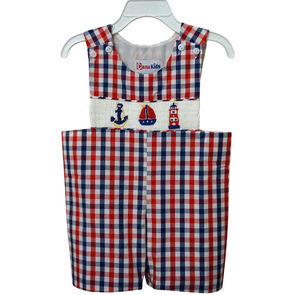 Dana Kids Little Boys Nautical Hand Smocked Shortall 6M to 3T