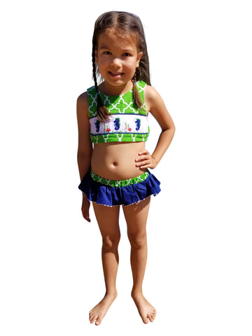 Dana Kids Little Girls Seahorse Hand Smocked Bikini/Swimsuit Girl Size 2T-6