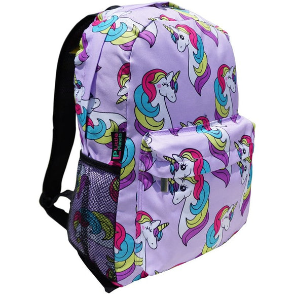 Little Planets Boys Girls All Over Print 16'' Kid School Backpack, Unicorn