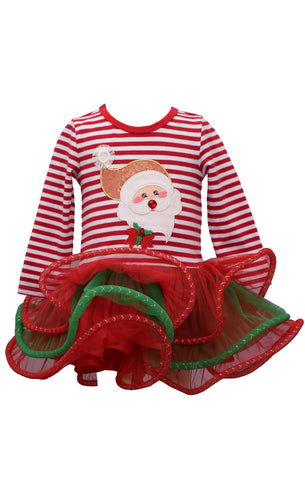 Bonnie Jean Girls Christmas Holiday Santa Applique Tulle Skirt Dress 2T-6X
