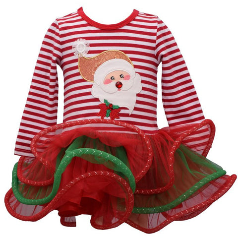 Image of Bonnie Jean Girls Christmas Holiday Santa Applique Tulle Skirt Dress 2T-6X