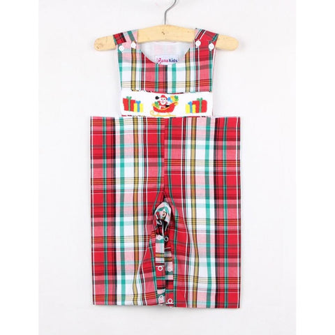 Dana Kids Christmas Holiday Plaid Santa Gifts Hand Smocked Longall Baby Boy 6M-24M
