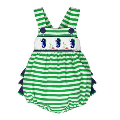 Image of Dana Kids Seahorse Hand Smocked Romper Baby Toddler Girls 6 Months to 3T
