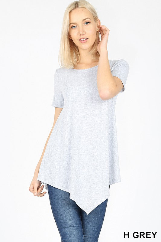Short Sleeve Asymmetrical Tee - H. Grey - Kasey Leigh Boutique