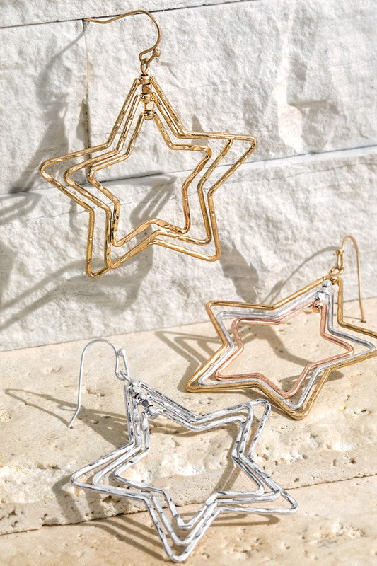 Shooting Stars Earrings - Silver, Gold or Mixed