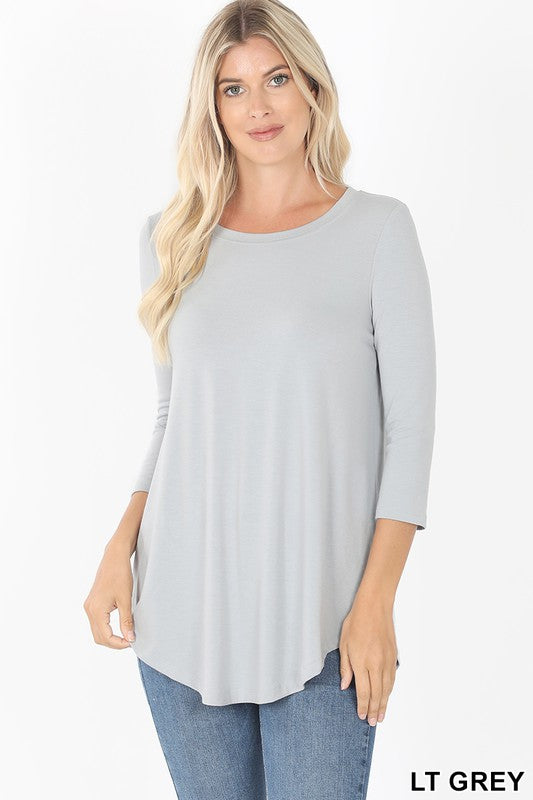 3/4 Sleeve Perfect Tee - Lt. Grey - Kasey Leigh Boutique