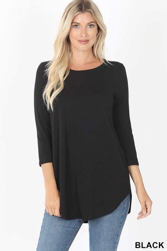 3/4 Sleeve Perfect Tee - Black - Kasey Leigh Boutique