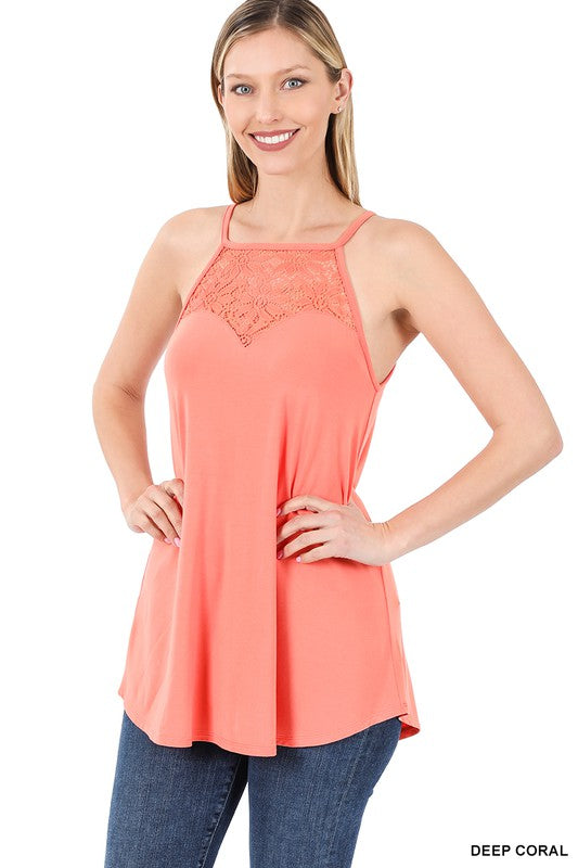 Lace Paneled Halter Tank - Coral Tops/Tunics - Kasey Leigh Boutique