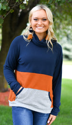 Colorblock Super Soft Funnel Neck Pullover - Kasey Leigh Boutique