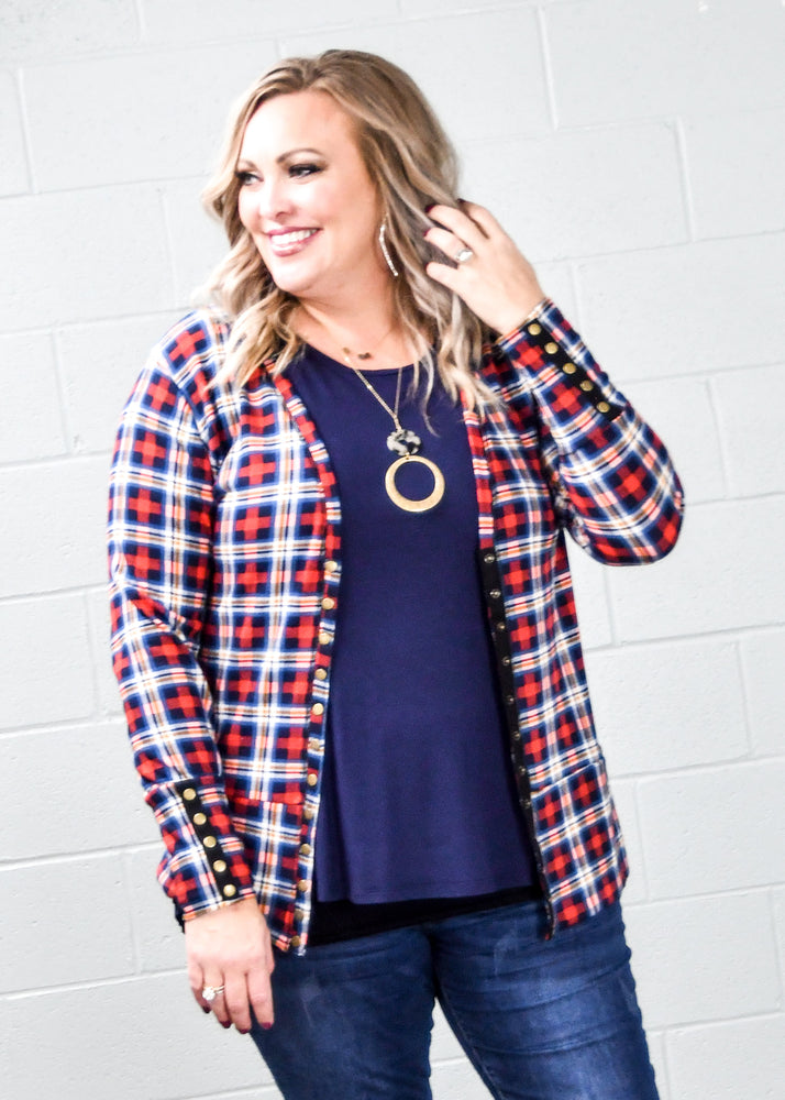 Home for the Holidays Plaid Snap Cardi - Kasey Leigh Boutique