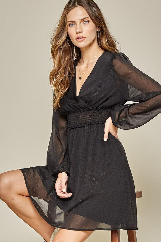 A Hint of Glam Black Dress - Kasey Leigh Boutique