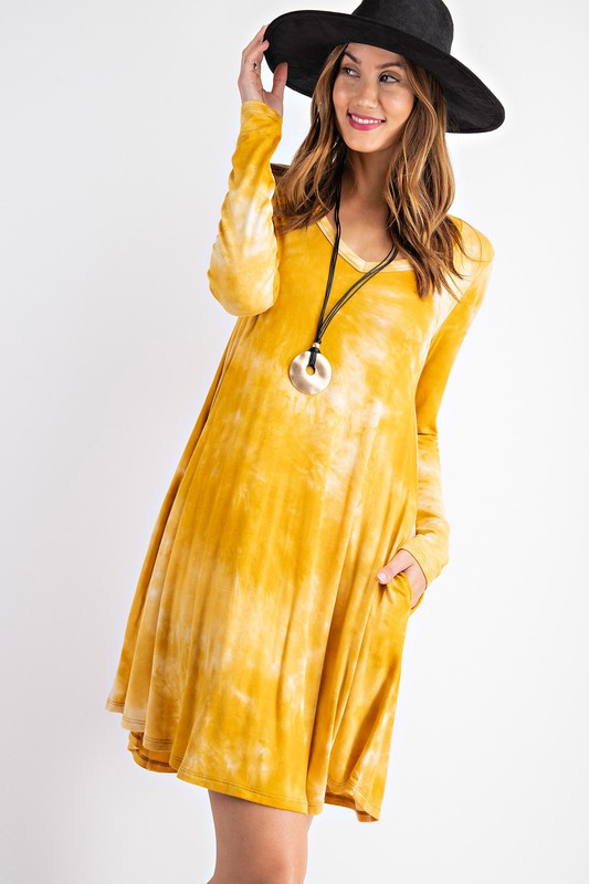Mustard Tie Dye Swing Dress