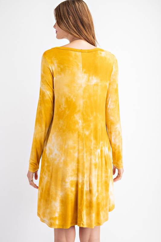 Mustard Tie Dye Swing Dress - Kasey Leigh Boutique